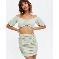 Pink Vanilla Light Green Ruched Crop Top and Skirt Set New Look