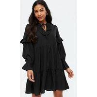 Influence Black Tie Neck Ruffle Tiered Mini Dress New Look