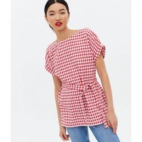 Red Gingham Belted Long Tunic Top New Look