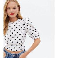 White Spot Open Tie Back Crop Blouse New Look