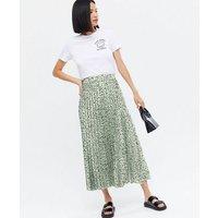 Green Animal Print Satin Pleated Midi Skirt New Look