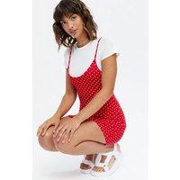 Pink Vanilla Red Spot 2 in 1 Mini Slip Dress New Look