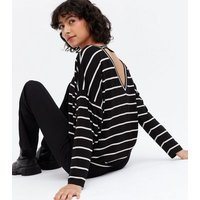 Black Stripe Tab Back Long Sleeve Top New Look