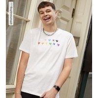 Men's White Rainbow Heart Pride Charity T-Shirt New Look