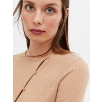 Camel Ribbed Asymmetric Button Cardigan New Look