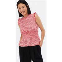 Red Ditsy Floral Shirred Waist Frill Top New Look