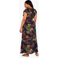 Apricot Curves Navy Tropical Wrap Maxi Dress New Look