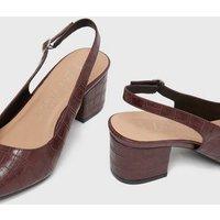 Wide Fit Burgundy Faux Croc Block Heel Court Shoes New Look Vegan