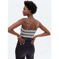 White Check Bustier Crop Top New Look