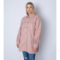 Gini London Pink Long Oversized Shacket New Look