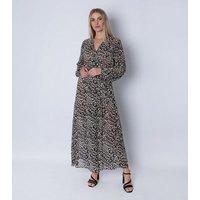 Gini London Black Animal Print Midaxi Wrap Dress New Look