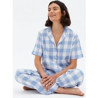 PIECES Pale Blue Check Shirt and Trouser Pyjama Set New Look