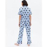 PIECES Pale Blue Spot Satin Trouser Pyjama Set New Look