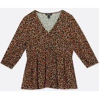 Maternity Black Ditsy Floral Peplum Tea Blouse New Look