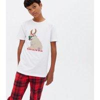 Boys White Check Christmas Pug Trouser Pyjama Set New Look
