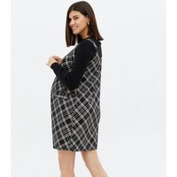 Maternity Black Check Square Neck Pinafore Dress New Look