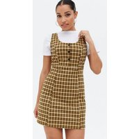 Petite Yellow Check Jersey Button Front Pinafore Dress New Look