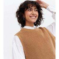 Camel Knit Crew Neck Sleeveless Jumper New Look