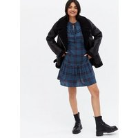 Blue Check Tie Frill Collar Tiered Mini Smock Dress New Look