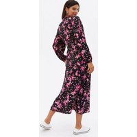Black Ditsy Floral Button Front Midi Dress New Look
