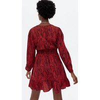 Red Zebra Shirred Frill Long Sleeve Mini Dress New Look