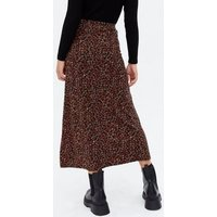 Rust Ditsy Floral Midi Skirt New Look
