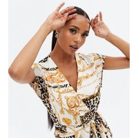 White Scarf Print Satin Belted Midi Wrap Dress New Look