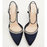 QUIZ Navy Satin Diamanté Court Shoes New Look