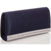 QUIZ Navy Satin Diamanté Clutch Bag New Look
