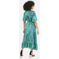 Mela Green Paisley Ruffle Midi Wrap Dress New Look
