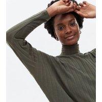 Khaki Ribbed Jersey Batwing Mini Tunic Dress New Look