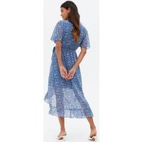 Mela Blue Daisy Ruffle Midi Wrap Dress New Look