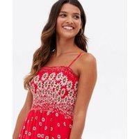 Mela Red Daisy Shirred Maxi Dress New Look