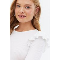 White Soft Ribbed Frill Long Sleeve Top New Look