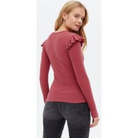 Deep Pink Soft Ribbed Frill Long Sleeve Top New Look