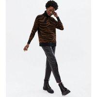 Brown Zebra Print Long Roll Neck Jumper New Look