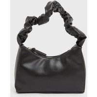 ONLY Black Leather-Look Ruched Shoulder Bag New Look
