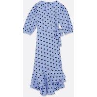 Vero Moda Curves Blue Spot Maxi Wrap Dress New Look