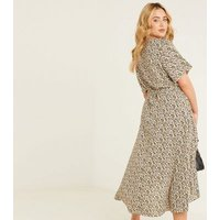 QUIZ Curves Yellow Ditsy Floral Belted Midi Wrap Dress New Look