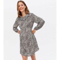 Maternity Brown Leopard Print Frill Collar Mini Dress New Look