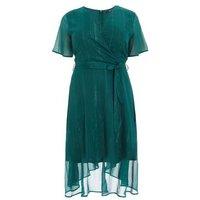 QUIZ Curves Teal Glitter Stripe Wrap Midi Dress New Look