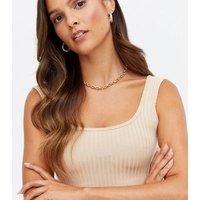 Pink Vanilla Stone Ribbed Midi Bodycon Dress New Look