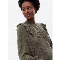 Khaki Jersey Frill Yoke Long Sleeve Mini Dress New Look