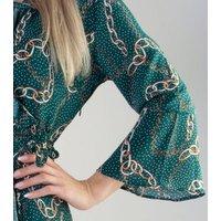 Gini London Green Chain Print Ruffle Midi Wrap Dress New Look