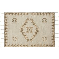 140x200cm ecru and beige hand-knotted wool rug with braided fringing