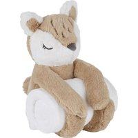 Baby blanket in beige and white faux deer fur