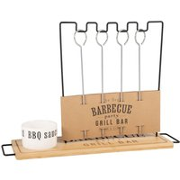 Barbecue skewer holder with porcelain sauce dish
