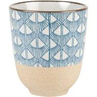 Beige Earthenware Cup with Blue Fan Print