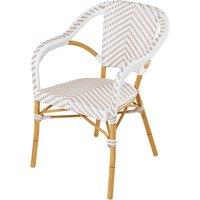 Beige/White Professional Quality Resin Garden Armchair