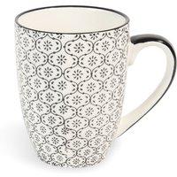 Black and White Printed Earthenware Mug